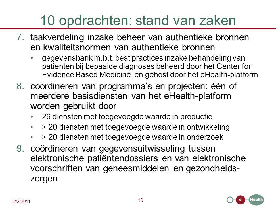 16 2/2/2011 10 opdrachten: stand van zaken 7.taakverdeling inzake beheer van authentieke bronnen en kwaliteitsnormen van authentieke bronnen gegevensbank m.b.t.