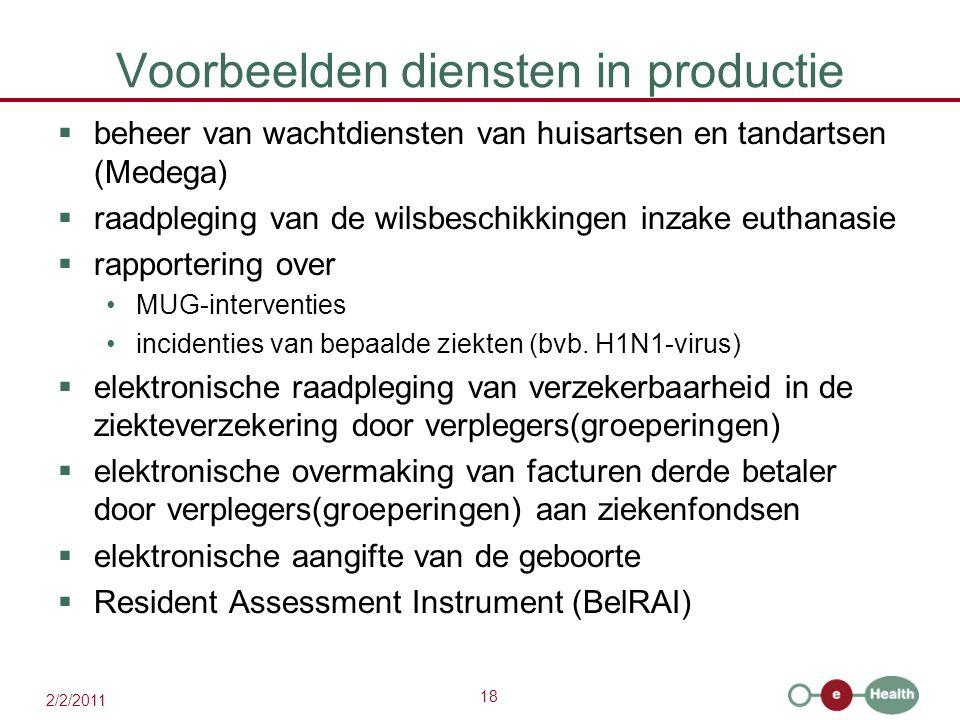 18 2/2/2011 Voorbeelden diensten in productie  beheer van wachtdiensten van huisartsen en tandartsen (Medega)  raadpleging van de wilsbeschikkingen