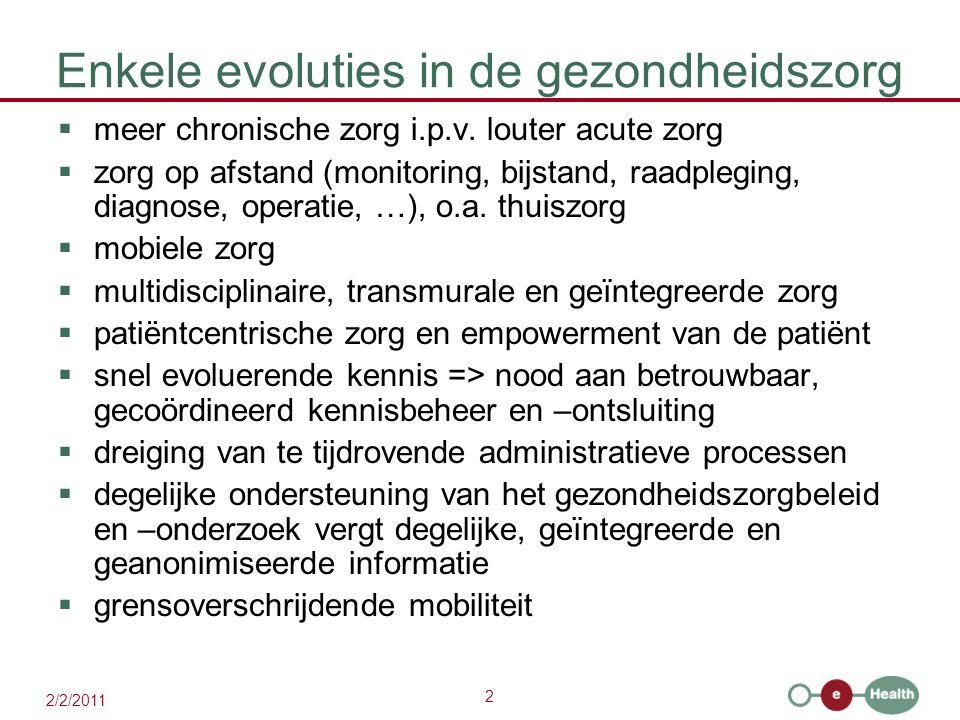 2 2/2/2011 Enkele evoluties in de gezondheidszorg  meer chronische zorg i.p.v. louter acute zorg  zorg op afstand (monitoring, bijstand, raadpleging