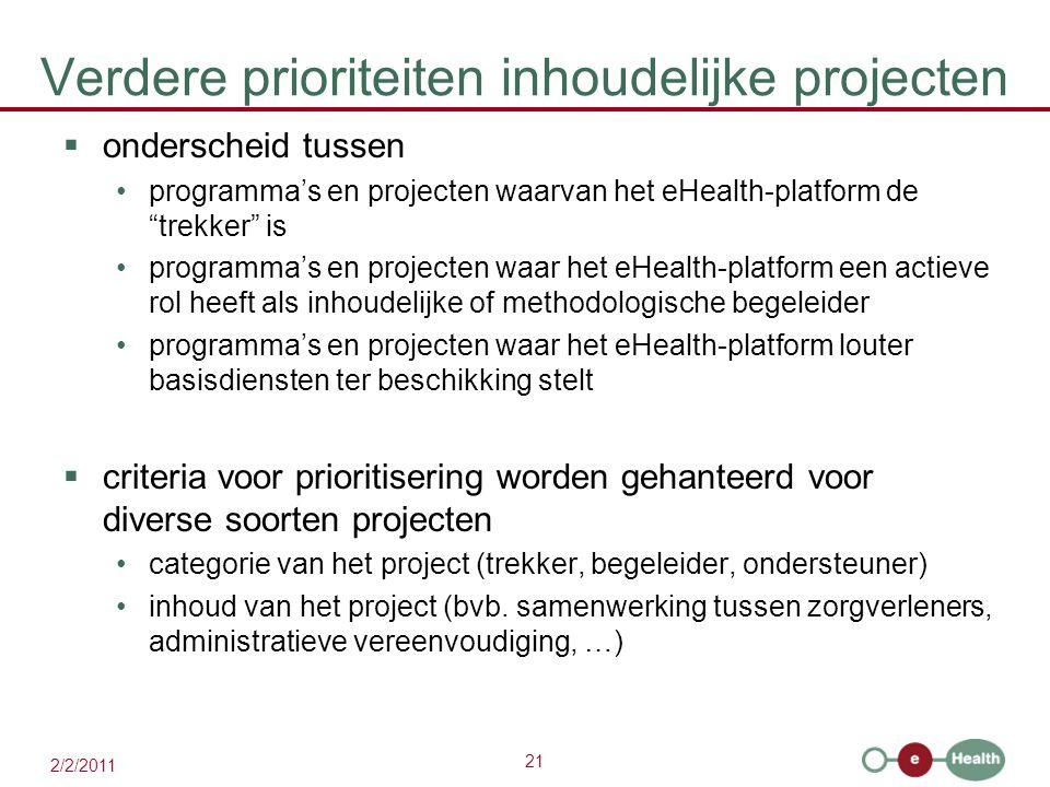 21 2/2/2011 Verdere prioriteiten inhoudelijke projecten  onderscheid tussen programma's en projecten waarvan het eHealth-platform de trekker is programma's en projecten waar het eHealth-platform een actieve rol heeft als inhoudelijke of methodologische begeleider programma's en projecten waar het eHealth-platform louter basisdiensten ter beschikking stelt  criteria voor prioritisering worden gehanteerd voor diverse soorten projecten categorie van het project (trekker, begeleider, ondersteuner) inhoud van het project (bvb.