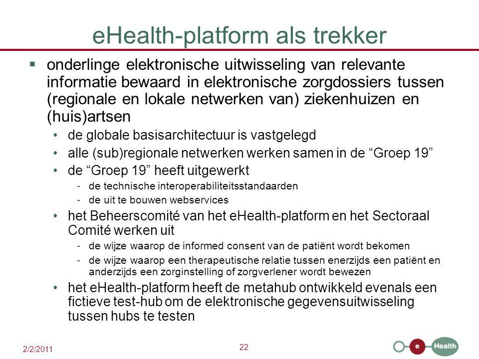 22 2/2/2011 eHealth-platform als trekker  onderlinge elektronische uitwisseling van relevante informatie bewaard in elektronische zorgdossiers tussen (regionale en lokale netwerken van) ziekenhuizen en (huis)artsen de globale basisarchitectuur is vastgelegd alle (sub)regionale netwerken werken samen in de Groep 19 de Groep 19 heeft uitgewerkt -de technische interoperabiliteitsstandaarden -de uit te bouwen webservices het Beheerscomité van het eHealth-platform en het Sectoraal Comité werken uit -de wijze waarop de informed consent van de patiënt wordt bekomen -de wijze waarop een therapeutische relatie tussen enerzijds een patiënt en anderzijds een zorginstelling of zorgverlener wordt bewezen het eHealth-platform heeft de metahub ontwikkeld evenals een fictieve test-hub om de elektronische gegevensuitwisseling tussen hubs te testen