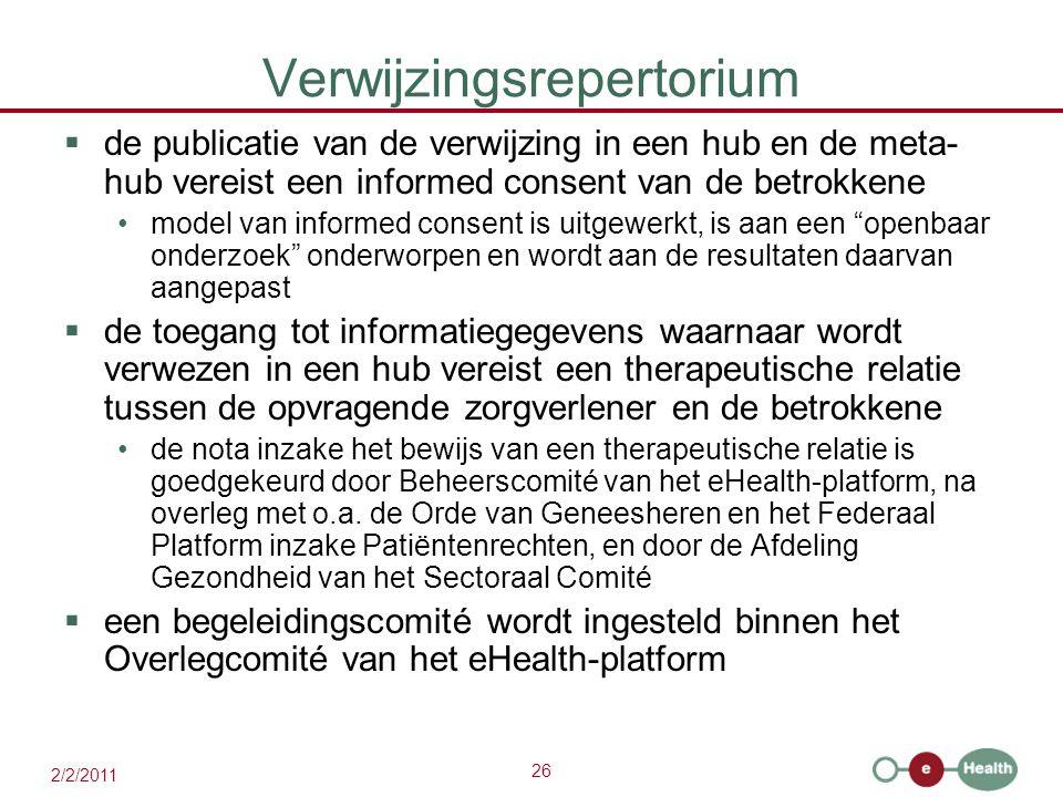 26 2/2/2011 Verwijzingsrepertorium  de publicatie van de verwijzing in een hub en de meta- hub vereist een informed consent van de betrokkene model v