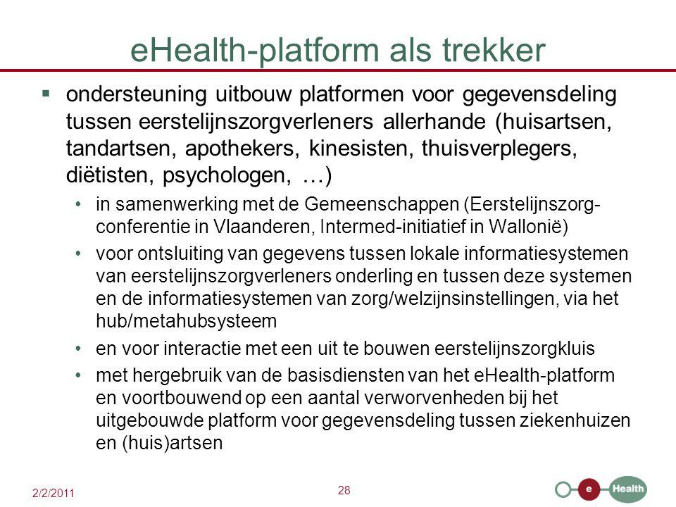 28 2/2/2011 eHealth-platform als trekker  ondersteuning uitbouw platformen voor gegevensdeling tussen eerstelijnszorgverleners allerhande (huisartsen, tandartsen, apothekers, kinesisten, thuisverplegers, diëtisten, psychologen, …) in samenwerking met de Gemeenschappen (Eerstelijnszorg- conferentie in Vlaanderen, Intermed-initiatief in Wallonië) voor ontsluiting van gegevens tussen lokale informatiesystemen van eerstelijnszorgverleners onderling en tussen deze systemen en de informatiesystemen van zorg/welzijnsinstellingen, via het hub/metahubsysteem en voor interactie met een uit te bouwen eerstelijnszorgkluis met hergebruik van de basisdiensten van het eHealth-platform en voortbouwend op een aantal verworvenheden bij het uitgebouwde platform voor gegevensdeling tussen ziekenhuizen en (huis)artsen