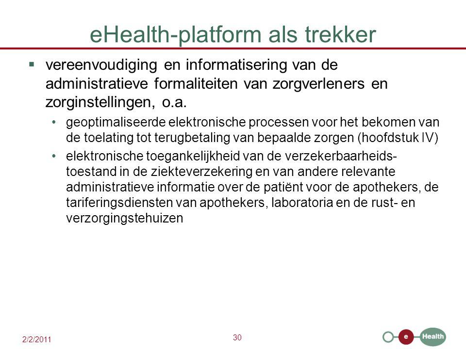 30 2/2/2011 eHealth-platform als trekker  vereenvoudiging en informatisering van de administratieve formaliteiten van zorgverleners en zorginstellingen, o.a.