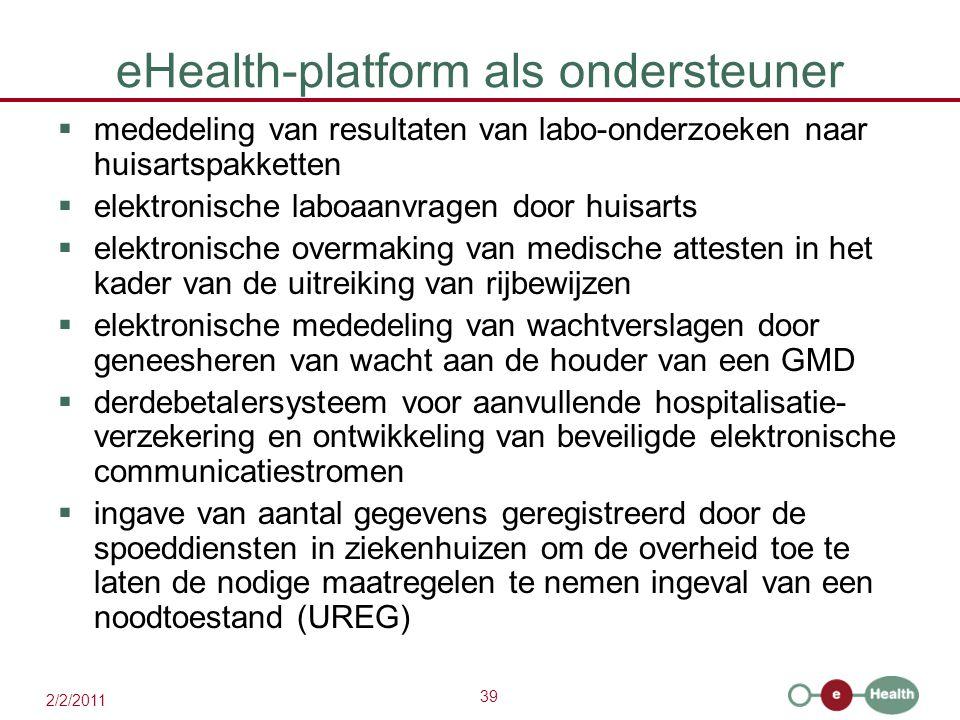 39 2/2/2011 eHealth-platform als ondersteuner  mededeling van resultaten van labo-onderzoeken naar huisartspakketten  elektronische laboaanvragen do
