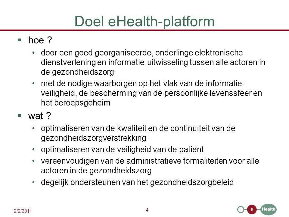 4 2/2/2011 Doel eHealth-platform  hoe ? door een goed georganiseerde, onderlinge elektronische dienstverlening en informatie-uitwisseling tussen alle