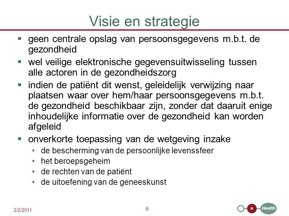 6 2/2/2011 Visie en strategie  geen centrale opslag van persoonsgegevens m.b.t. de gezondheid  wel veilige elektronische gegevensuitwisseling tussen