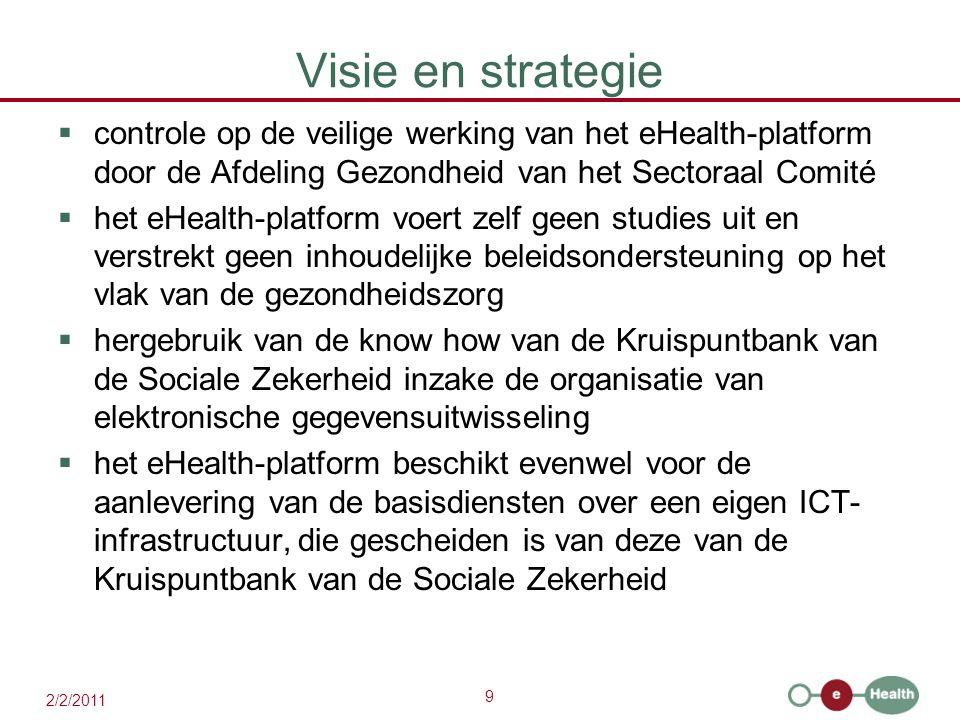 9 2/2/2011 Visie en strategie  controle op de veilige werking van het eHealth-platform door de Afdeling Gezondheid van het Sectoraal Comité  het eHe
