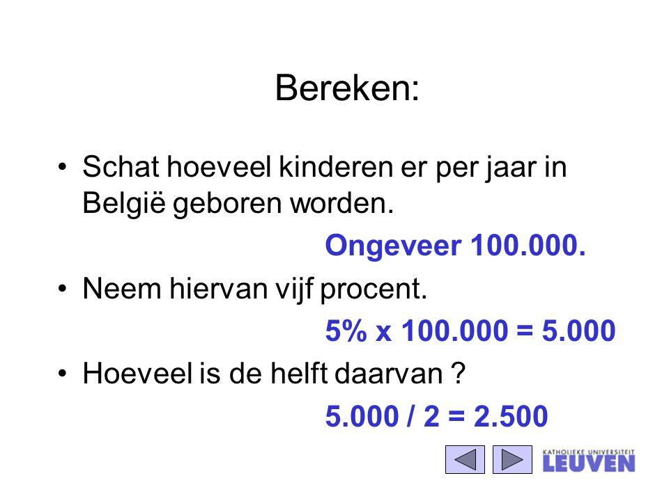 Bereken: Schat hoeveel kinderen er per jaar in België geboren worden. Ongeveer 100.000. Neem hiervan vijf procent. 5% x 100.000 = 5.000 Hoeveel is de