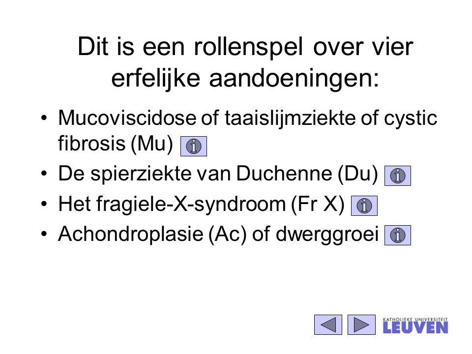 Dit is een rollenspel over vier erfelijke aandoeningen: Mucoviscidose of taaislijmziekte of cystic fibrosis (Mu) De spierziekte van Duchenne (Du) Het