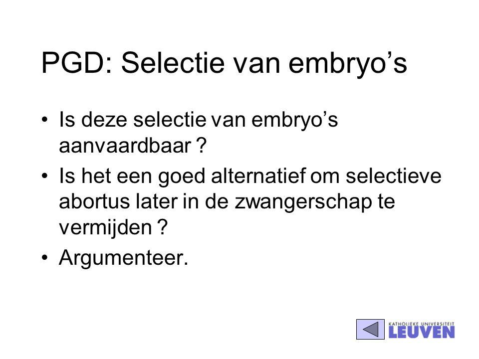 PGD: Selectie van embryo's Is deze selectie van embryo's aanvaardbaar ? Is het een goed alternatief om selectieve abortus later in de zwangerschap te