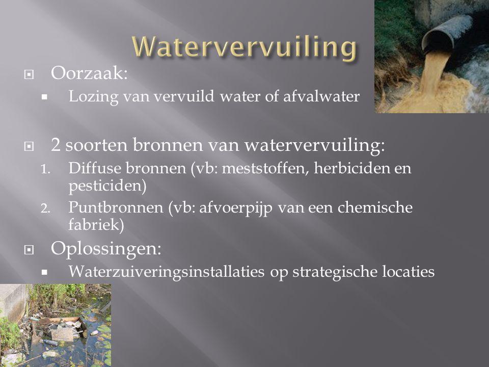  Oorzaak:  Lozing van vervuild water of afvalwater  2 soorten bronnen van watervervuiling: 1. Diffuse bronnen (vb: meststoffen, herbiciden en pesti