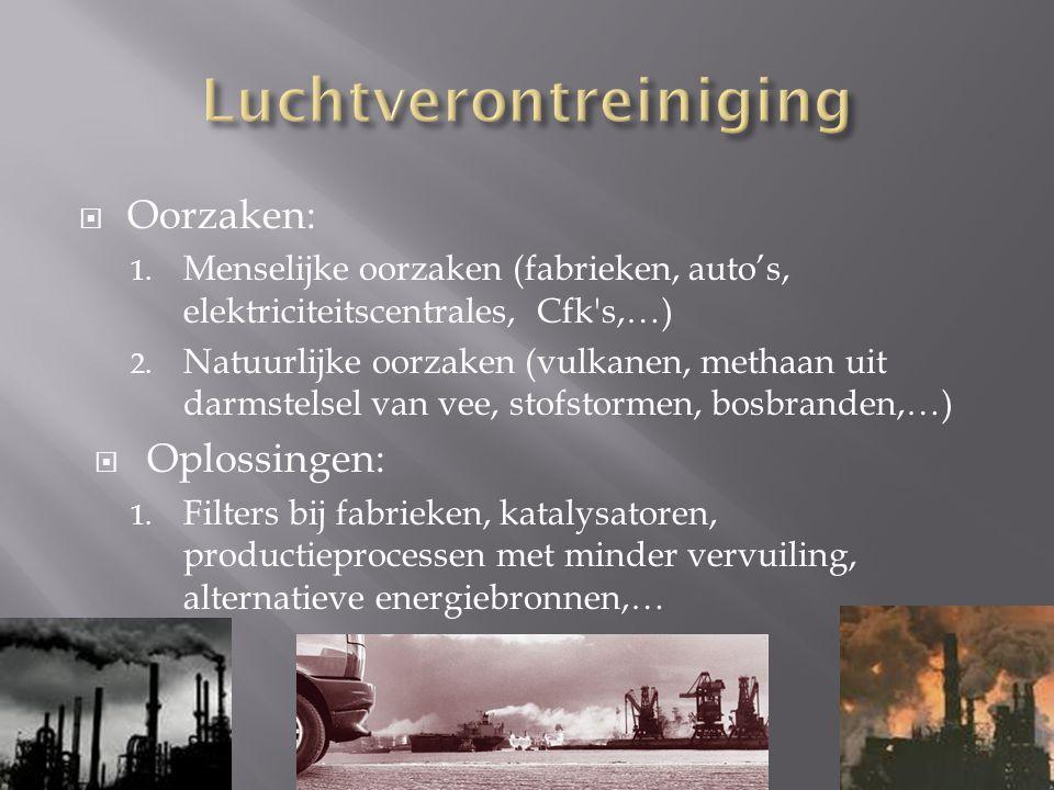  Oorzaken: 1. Menselijke oorzaken (fabrieken, auto's, elektriciteitscentrales, Cfk's,…) 2. Natuurlijke oorzaken (vulkanen, methaan uit darmstelsel va