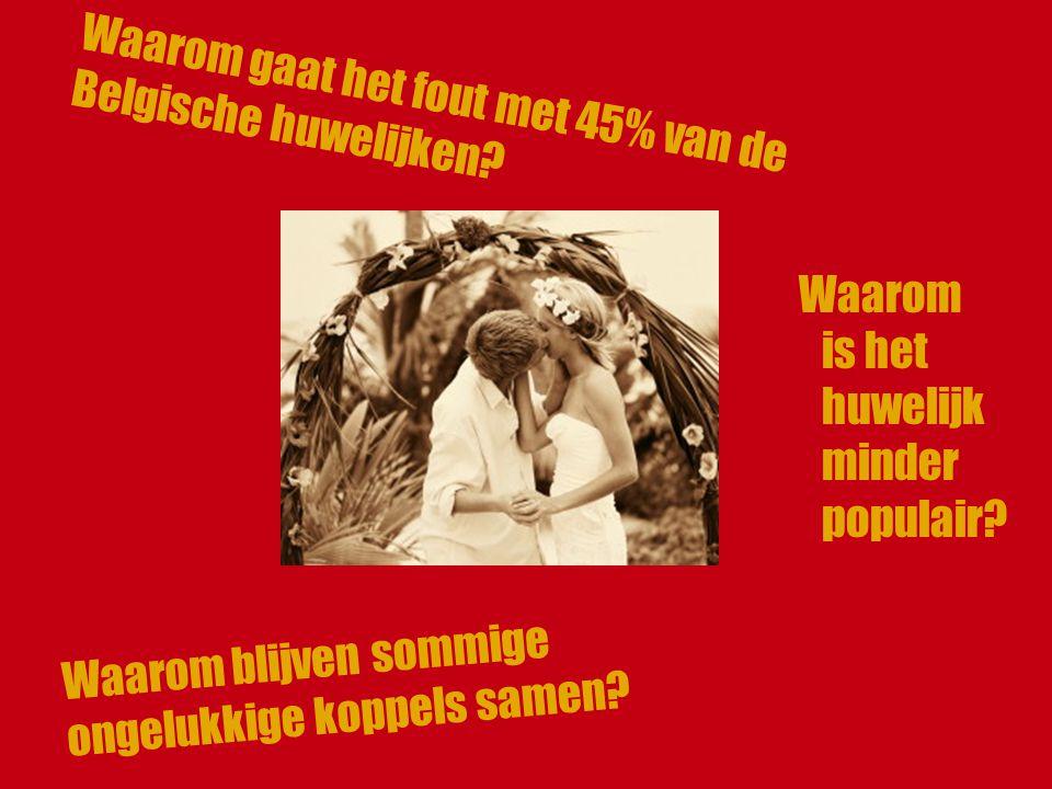 Waarom is het huwelijk minder populair.Waarom gaat het fout met 45% van de Belgische huwelijken.