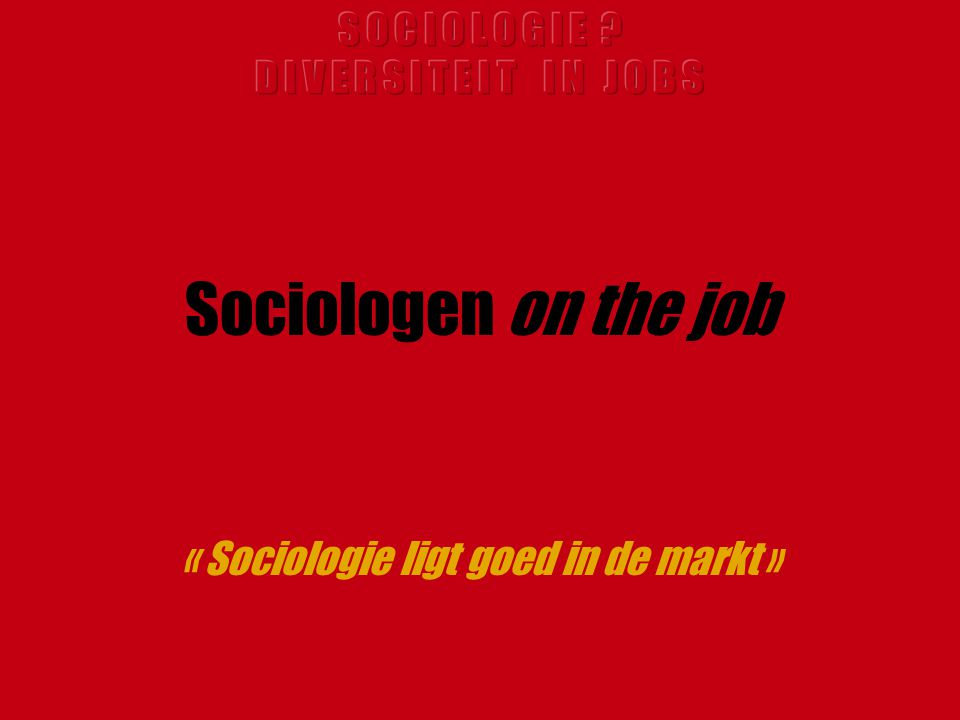 Sociologen on the job « Sociologie ligt goed in de markt »