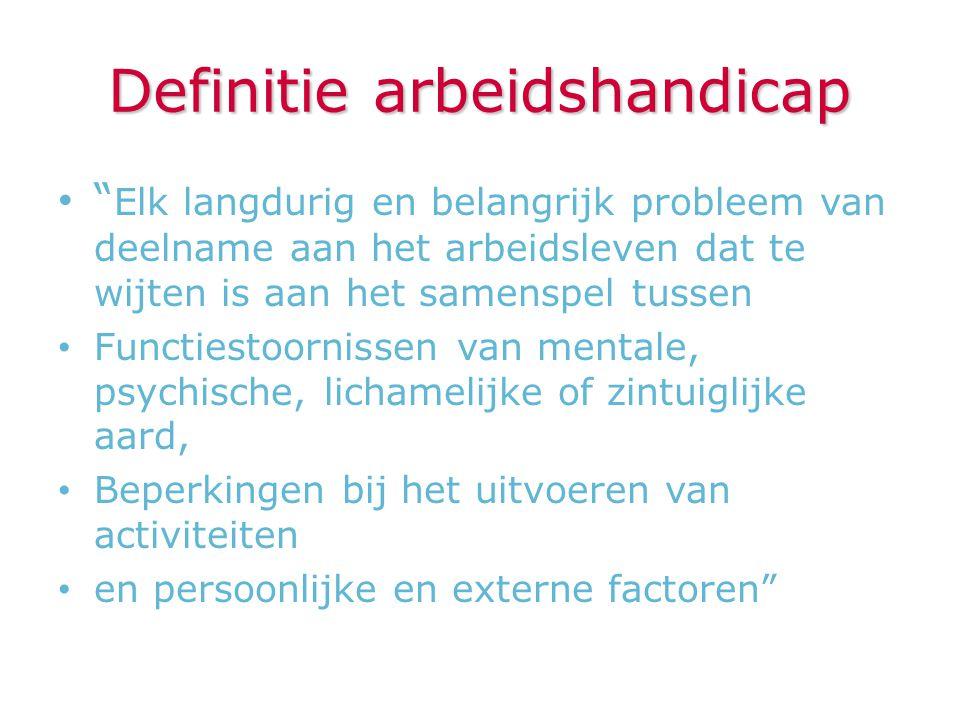 """Definitie arbeidshandicap """" Elk langdurig en belangrijk probleem van deelname aan het arbeidsleven dat te wijten is aan het samenspel tussen Functiest"""