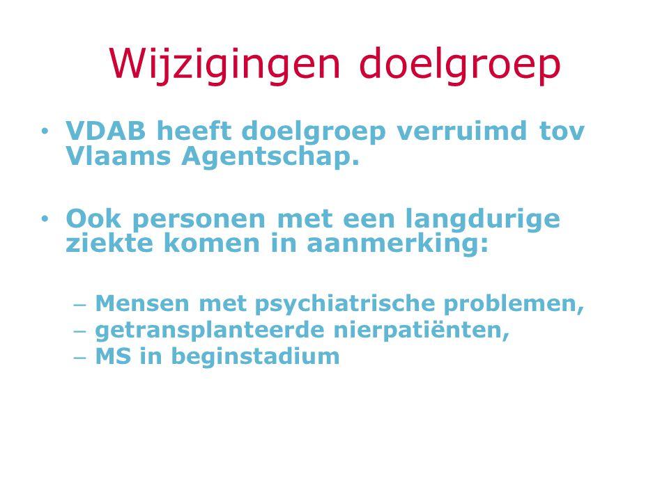 Wijzigingen doelgroep VDAB heeft doelgroep verruimd tov Vlaams Agentschap. Ook personen met een langdurige ziekte komen in aanmerking: – Mensen met ps