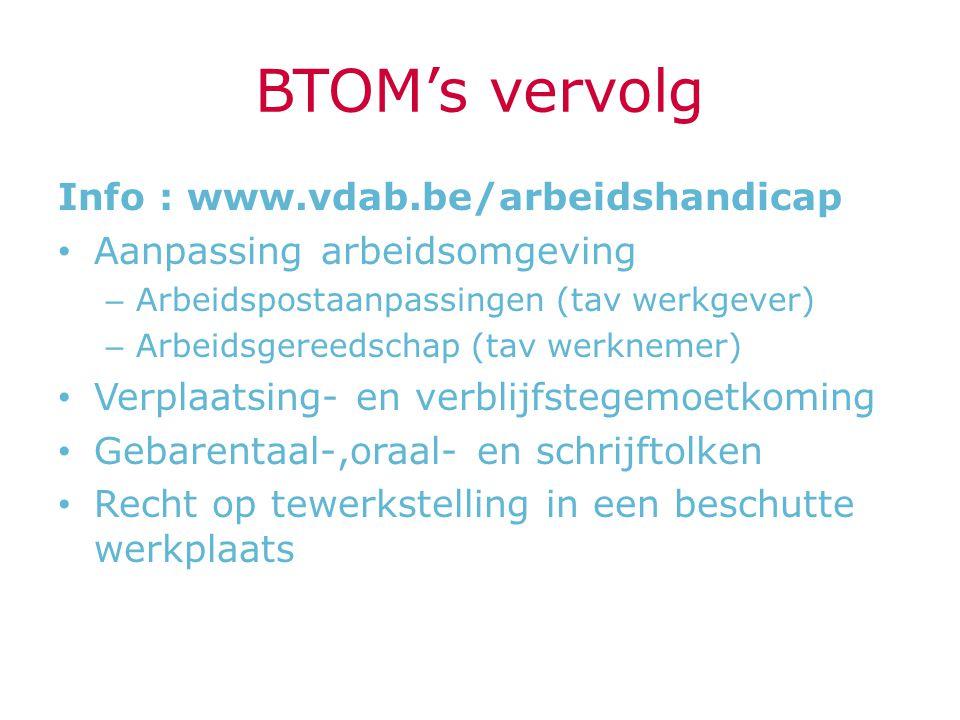 BTOM's vervolg Info : www.vdab.be/arbeidshandicap Aanpassing arbeidsomgeving – Arbeidspostaanpassingen (tav werkgever) – Arbeidsgereedschap (tav werkn