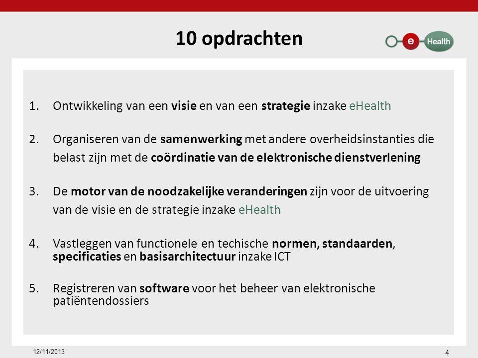 10 opdrachten 1.Ontwikkeling van een visie en van een strategie inzake eHealth 2.Organiseren van de samenwerking met andere overheidsinstanties die belast zijn met de coördinatie van de elektronische dienstverlening 3.De motor van de noodzakelijke veranderingen zijn voor de uitvoering van de visie en de strategie inzake eHealth 4.Vastleggen van functionele en techische normen, standaarden, specificaties en basisarchitectuur inzake ICT 5.Registreren van software voor het beheer van elektronische patiëntendossiers 4 12/11/2013