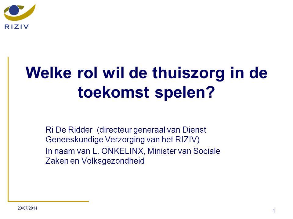 23/07/2014 2 Plan De Minister wil investeren in het beroep van thuisverpleegkundige volgens verschillende hoofdlijnen: 1.ATTRACTIVITEIT Attractiviteitsplan 2.ONTWIKKELING VAN THUISZORG IN MULTIDISCIPLINAIR KADER Zorgvernieuwing Zorgtrajecten RAI 3.DIFFERENTIATIE Proefproject Zorgkundigen 4.MODERNISERING Telematica-premie Vinca-project Mycarenet 5.NIEUWE INITIATIEVEN Verpleegkundig consult Budget 2009 6.TOEKOMST KCE-studie