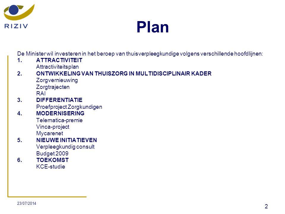 23/07/2014 23 NIEUWE INITIATIEVEN (1)  Verpleegkundig consult  Een nieuwe verstrekking verpleegkundig consult in de thuisverpleging wordt ingevoerd in artikel 8 van de nomenclatuur.