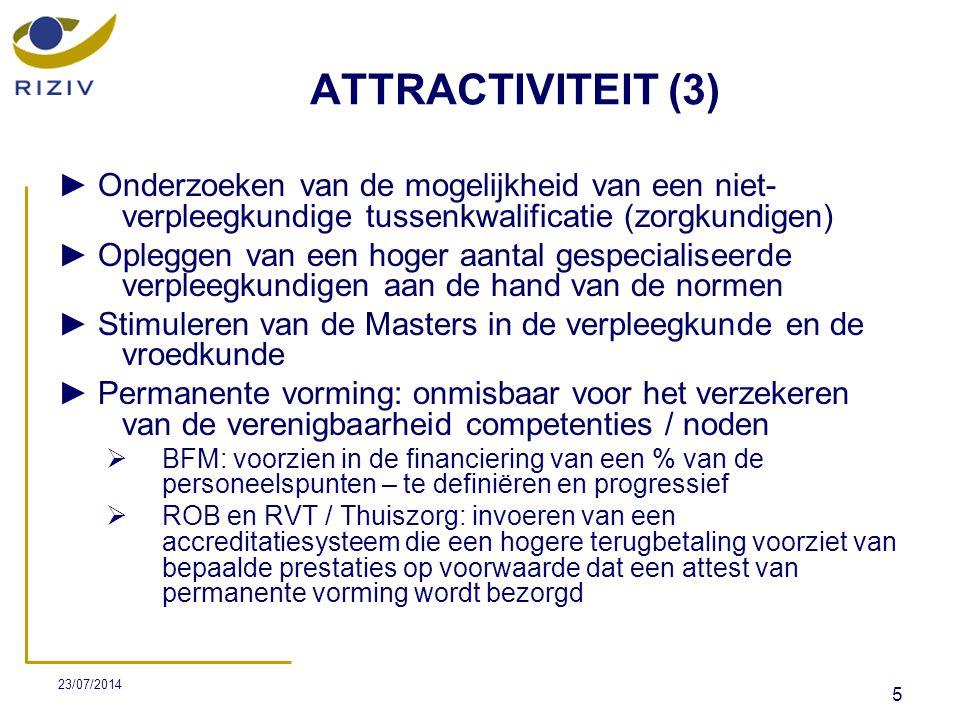 23/07/2014 26 NIEUWE INITIATIEVEN (4)  De overige 2.246.000€ zullen op de volgende manier verdeeld worden: ► Herwaardering honoraria van complexe wondzorg (1.860.000€):  een verhoging van 10% - van 6,36€ tot 6,996€ ► Aanpassingen nomenclatuur (244.000€): 1.205.000€ oogindruppeling - post-operatief ook van 16e tot en met 30e dag in een apart bezoek 2.39.000€ voorbereiding, administratie en toezicht op de toediening van medicatie en/of enterale voeding met gebruik van een (spuit)pomp via een gastro-intestinale sonde