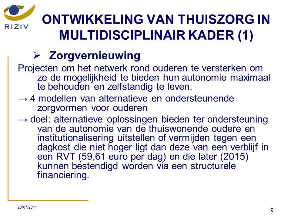 23/07/2014 10 ONTWIKKELING VAN THUISZORG IN MULTIDISCIPLINAIR KADER (2) → zorgverleners: de diensten, groeperingen of verzorgings-, hulp- of diensteninstellingen, inclusief de GDT's die rechtstreeks bij de tenlasteneming van ouderen betrokken zijn- in het bijzonder als noodzakelijke partners beschouwd: -de diensten thuisverpleging, -de geïntegreerde diensten voor thuisverpleging (GDT), -de ROB's of RVT's