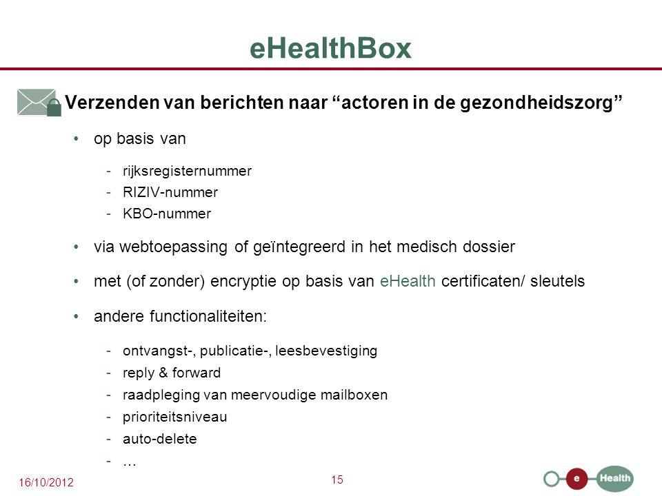 """15 16/10/2012 eHealthBox  Verzenden van berichten naar """"actoren in de gezondheidszorg"""" op basis van -rijksregisternummer -RIZIV-nummer -KBO-nummer vi"""