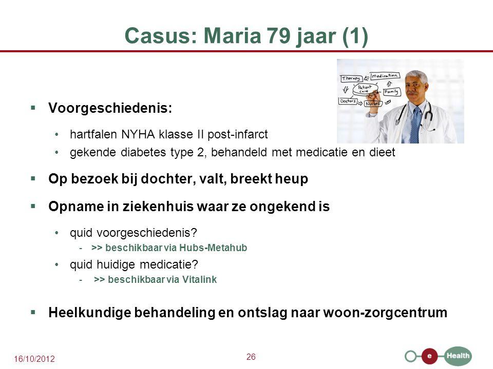 26 16/10/2012 Casus: Maria 79 jaar (1)  Voorgeschiedenis: hartfalen NYHA klasse II post-infarct gekende diabetes type 2, behandeld met medicatie en d