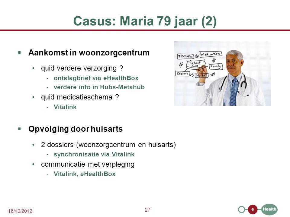 27 16/10/2012 Casus: Maria 79 jaar (2)  Aankomst in woonzorgcentrum quid verdere verzorging ? -ontslagbrief via eHealthBox -verdere info in Hubs-Meta