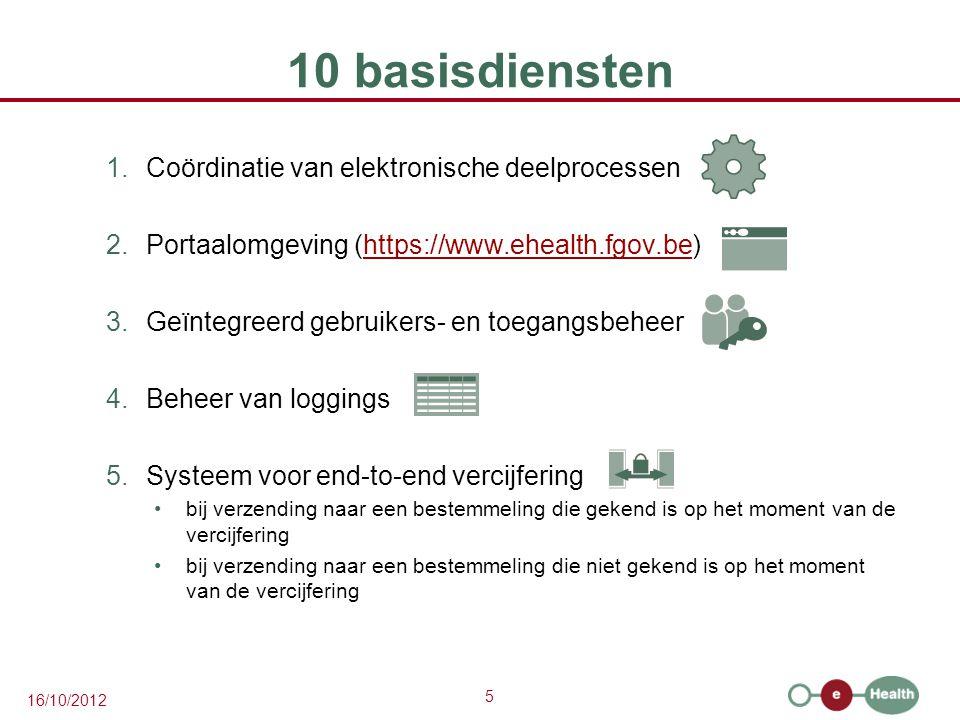 5 16/10/2012 10 basisdiensten 1.Coördinatie van elektronische deelprocessen 2.Portaalomgeving (https://www.ehealth.fgov.be)https://www.ehealth.fgov.be