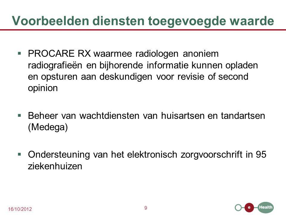 9 16/10/2012 Voorbeelden diensten toegevoegde waarde  PROCARE RX waarmee radiologen anoniem radiografieën en bijhorende informatie kunnen opladen en opsturen aan deskundigen voor revisie of second opinion  Beheer van wachtdiensten van huisartsen en tandartsen (Medega)  Ondersteuning van het elektronisch zorgvoorschrift in 95 ziekenhuizen