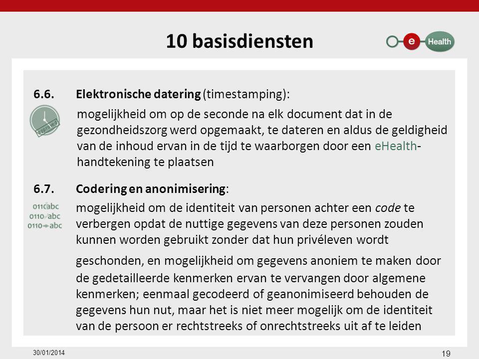 10 basisdiensten 6.6.Elektronische datering (timestamping): mogelijkheid om op de seconde na elk document dat in de gezondheidszorg werd opgemaakt, te