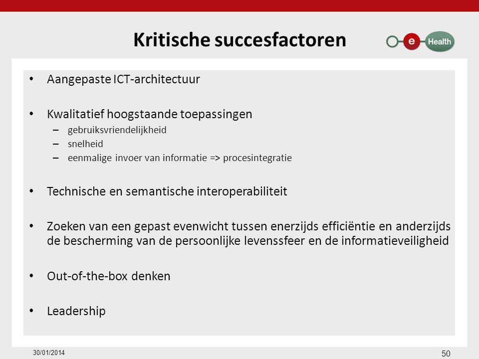 Aangepaste ICT-architectuur Kwalitatief hoogstaande toepassingen – gebruiksvriendelijkheid – snelheid – eenmalige invoer van informatie => procesintegratie Technische en semantische interoperabiliteit Zoeken van een gepast evenwicht tussen enerzijds efficiëntie en anderzijds de bescherming van de persoonlijke levenssfeer en de informatieveiligheid Out-of-the-box denken Leadership 50 30/01/2014 Kritische succesfactoren