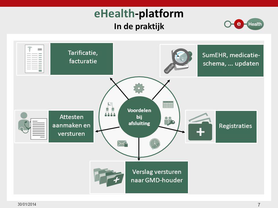 Voordelen bij afsluiting eHealth-platform In de praktijk 7 30/01/2014 Tarificatie, facturatie Attesten aanmaken en versturen SumEHR, medicatie- schema,...