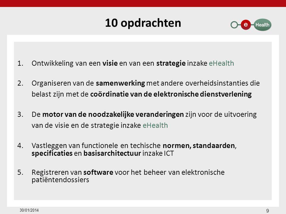 10 opdrachten 1.Ontwikkeling van een visie en van een strategie inzake eHealth 2.Organiseren van de samenwerking met andere overheidsinstanties die belast zijn met de coördinatie van de elektronische dienstverlening 3.De motor van de noodzakelijke veranderingen zijn voor de uitvoering van de visie en de strategie inzake eHealth 4.Vastleggen van functionele en techische normen, standaarden, specificaties en basisarchitectuur inzake ICT 5.Registreren van software voor het beheer van elektronische patiëntendossiers 9 30/01/2014