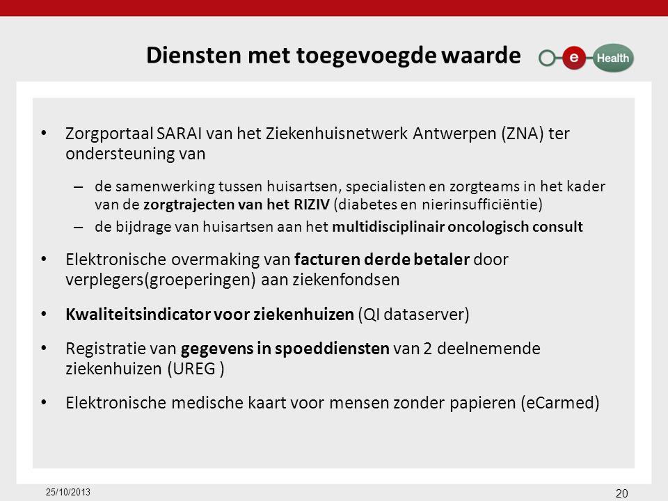 Diensten met toegevoegde waarde Zorgportaal SARAI van het Ziekenhuisnetwerk Antwerpen (ZNA) ter ondersteuning van – de samenwerking tussen huisartsen, specialisten en zorgteams in het kader van de zorgtrajecten van het RIZIV (diabetes en nierinsufficiëntie) – de bijdrage van huisartsen aan het multidisciplinair oncologisch consult Elektronische overmaking van facturen derde betaler door verplegers(groeperingen) aan ziekenfondsen Kwaliteitsindicator voor ziekenhuizen (QI dataserver) Registratie van gegevens in spoeddiensten van 2 deelnemende ziekenhuizen (UREG ) Elektronische medische kaart voor mensen zonder papieren (eCarmed) 20 25/10/2013