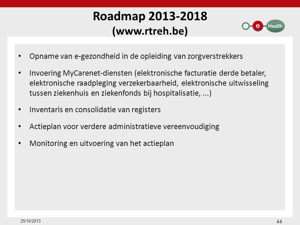 Roadmap 2013-2018 (www.rtreh.be) Opname van e-gezondheid in de opleiding van zorgverstrekkers Invoering MyCarenet-diensten (elektronische facturatie derde betaler, elektronische raadpleging verzekerbaarheid, elektronische uitwisseling tussen ziekenhuis en ziekenfonds bij hospitalisatie,...) Inventaris en consolidatie van registers Actieplan voor verdere administratieve vereenvoudiging Monitoring en uitvoering van het actieplan 25/10/2013 44