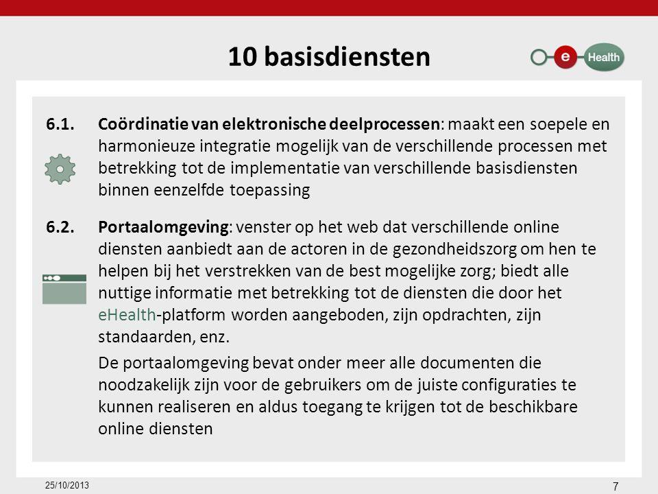 Diensten met toegevoegde waarde Platform voor gegevensuitwisseling tussen het Vlaams Agentschap voor Zorg en Gezondheid en de door haar erkende diensten (VESTA) Ondersteuning van het intern elektronisch zorgvoorschrift in 101 ziekenhuizen (72 % van de ziekenhuizen) Elektronische geboorteaangifte – eBirth Raadpleging van de wilsbeschikkingen inzake euthanasie Elektronische invoer en raadpleging van de evaluatie van de personen met een handicap in het informatiesysteem van de FOD Sociale Zekerheid (Medic-e) Online registratiesysteem voor de private voorzieningen uit de sector bijzondere jeugdzorg in Vlaanderen 18 25/10/2013