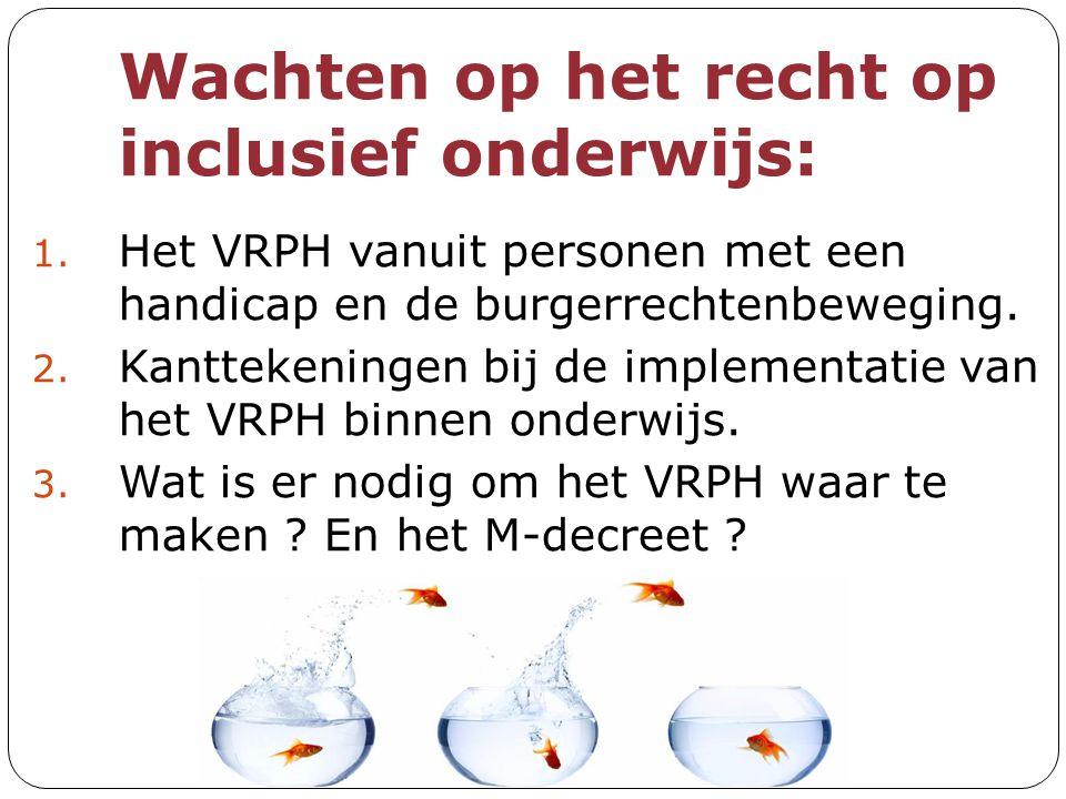 Wachten op het recht op inclusief onderwijs: 1. Het VRPH vanuit personen met een handicap en de burgerrechtenbeweging. 2. Kanttekeningen bij de implem
