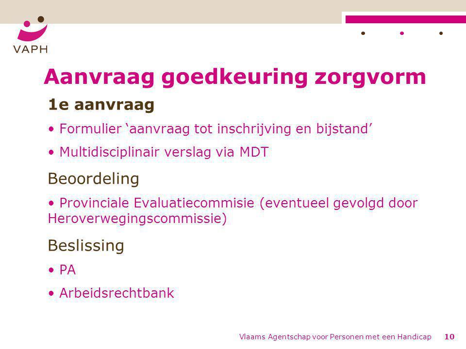 Vlaams Agentschap voor Personen met een Handicap10 Aanvraag goedkeuring zorgvorm 1e aanvraag Formulier 'aanvraag tot inschrijving en bijstand' Multidi