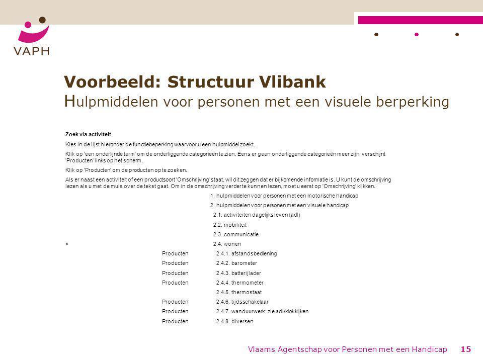 Vlaams Agentschap voor Personen met een Handicap15 Voorbeeld: Structuur Vlibank H ulpmiddelen voor personen met een visuele berperking Zoek via activi