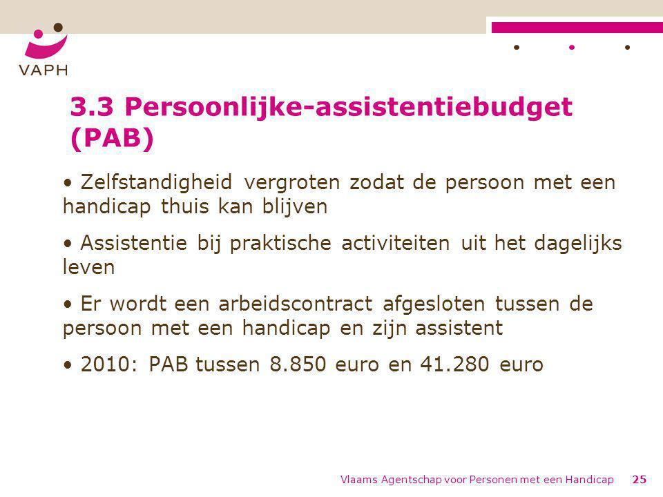 Vlaams Agentschap voor Personen met een Handicap25 3.3 Persoonlijke-assistentiebudget (PAB) Zelfstandigheid vergroten zodat de persoon met een handica