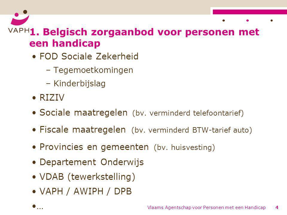 Vlaams Agentschap voor Personen met een Handicap4 1. Belgisch zorgaanbod voor personen met een handicap FOD Sociale Zekerheid – Tegemoetkomingen – Kin