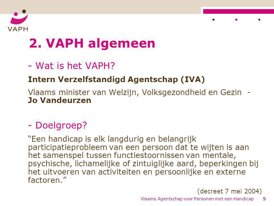 Vlaams Agentschap voor Personen met een Handicap5 2. VAPH algemeen - Wat is het VAPH? Intern Verzelfstandigd Agentschap (IVA) Vlaams minister van Welz