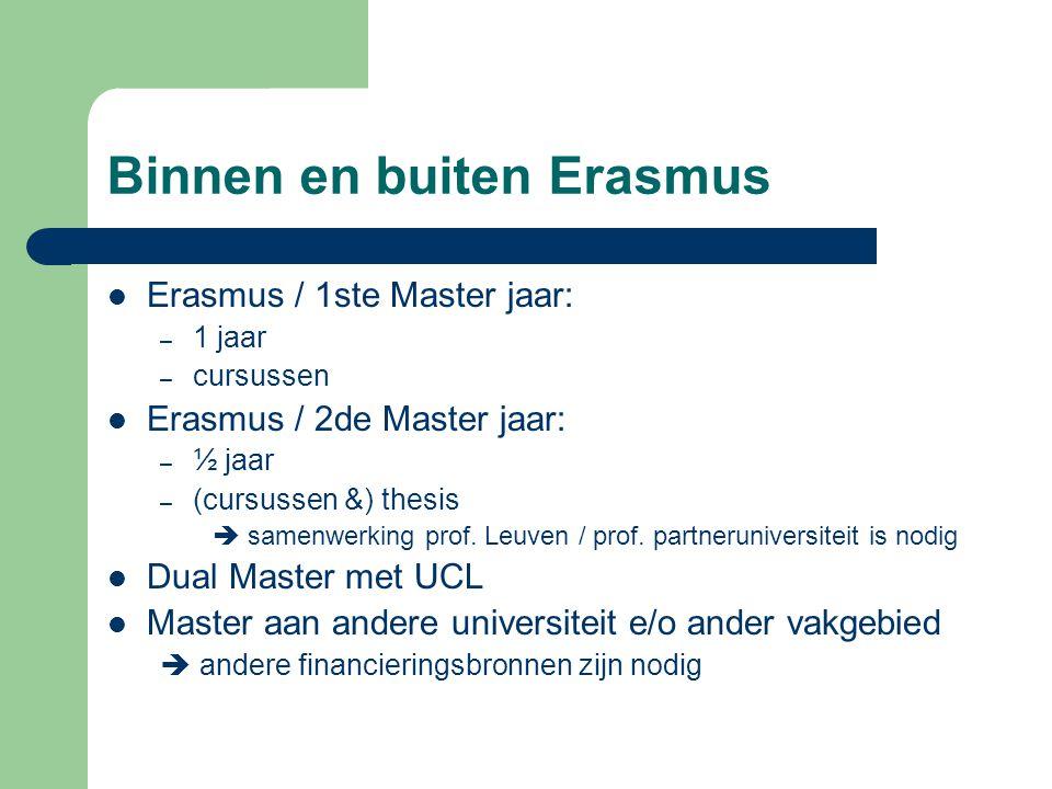 Binnen en buiten Erasmus Erasmus / 1ste Master jaar: – 1 jaar – cursussen Erasmus / 2de Master jaar: – ½ jaar – (cursussen &) thesis  samenwerking prof.