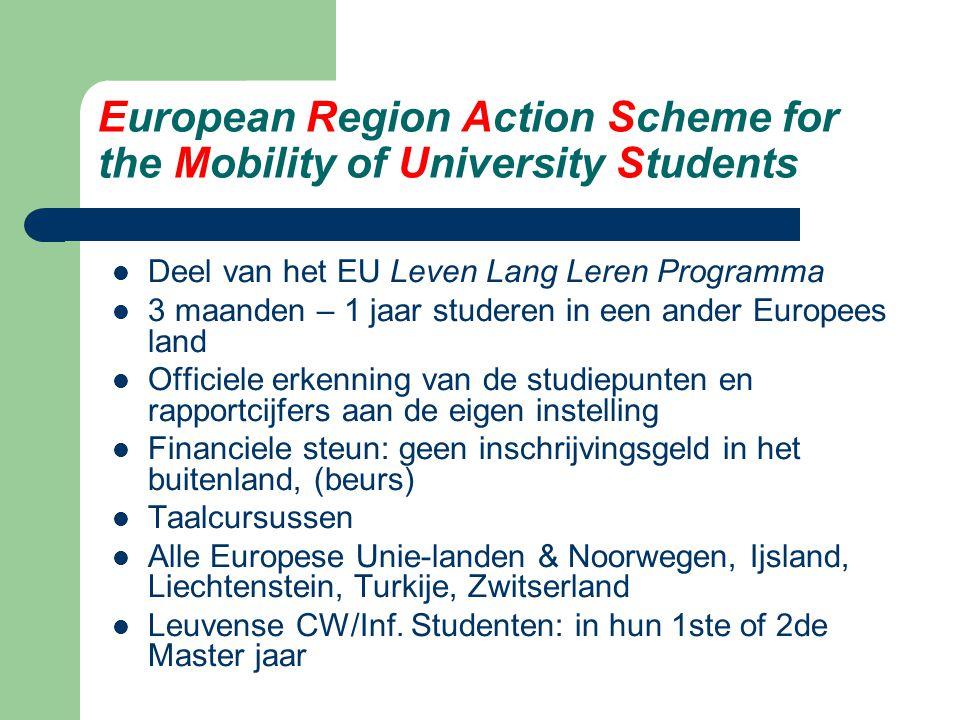 European Region Action Scheme for the Mobility of University Students Deel van het EU Leven Lang Leren Programma 3 maanden – 1 jaar studeren in een an