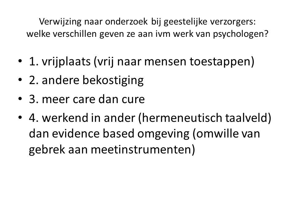 Verwijzing naar onderzoek bij geestelijke verzorgers: welke verschillen geven ze aan ivm werk van psychologen.