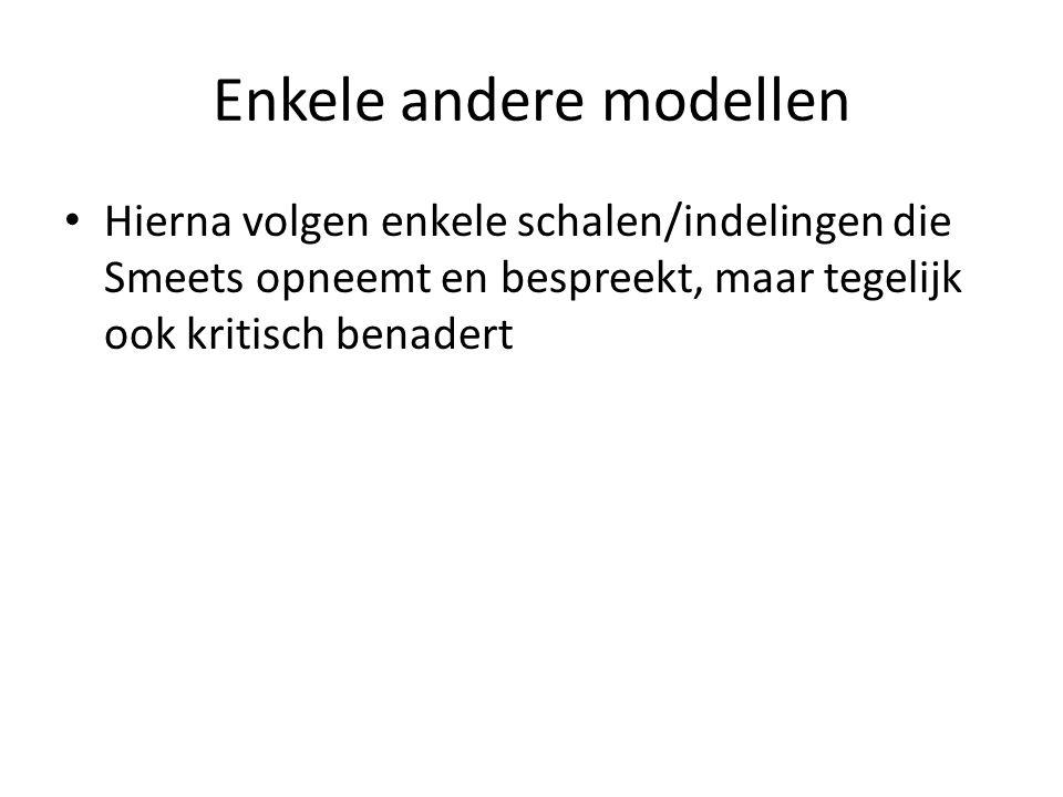 Enkele andere modellen Hierna volgen enkele schalen/indelingen die Smeets opneemt en bespreekt, maar tegelijk ook kritisch benadert