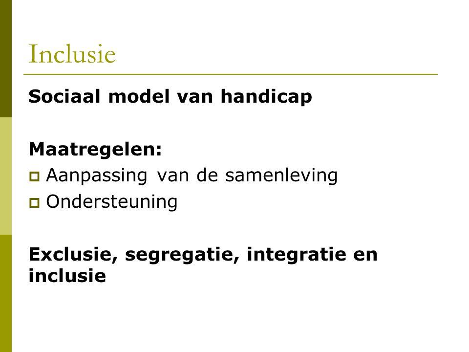 Inclusie Sociaal model van handicap Maatregelen:  Aanpassing van de samenleving  Ondersteuning Exclusie, segregatie, integratie en inclusie